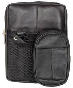 ASPENLEATHER Genuine Leather Travel Kit Bag (Black)