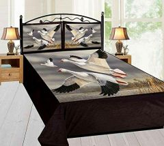 Tanishkam Décor Digital Printed 3D Birds Theme Velvet King Size Double Bedsheet with 2 Pillow Covers (90x100)