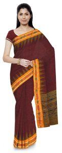 Jharana Handloom Womens Maniabandhi Sambalpuri Ikat Cotton Saree -  Maroon/ Yellow