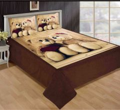 Tanishkam Décor Digital Printed Teddy Couple Theme Velvet King Size Double Bedsheet with 2 Pillow Covers (90x100)