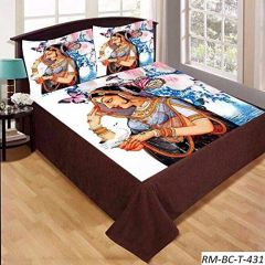 Tanishkam Décor Digital Printed Lady Theme Velvet King Size Double Bedsheet with 2 Pillow Covers (90x100)