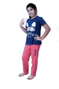 Brand: Babydoll - Self Printed Girls Kids Night Suit Super Soft Nightwear Cotton Hosiery Top and Payjama Set | Night Suit Full Pant Set for Girls