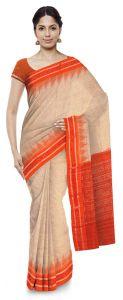 Jharana Handloom Womens Maniabandhi Sambalpuri Ikat Cotton Saree -  Tasar (matha)/ Orange