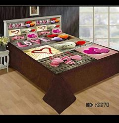 Tanishkam Décor Digital Printed Love Velvet King Size Double Bedsheet with 2 Pillow Covers (90x100)
