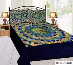 Tanishkam Décor Digital Printed Beautiful & Unique Design Velvet King Size Double Bedsheet with 2 Pillow Covers (90x100)