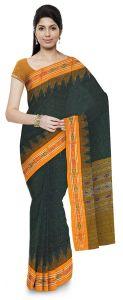 Jharana Handloom Womens Maniabandhi Sambalpuri Ikat Cotton Saree -  Green/ Yellow