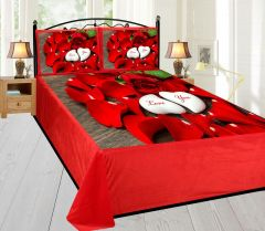 Tanishkam Décor Digital Printed Velvet King Size Double Bedsheet with 2 Pillow Covers (90x100) - Red Rose
