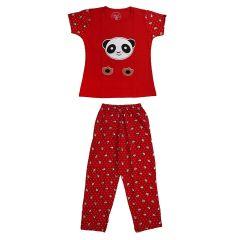 Babydoll - Self Printed Girls Kids Night Suit Super Soft Nightwear Cotton Hosiery Top and Payjama Full Set | Night Suit Pant Set for Girls