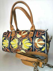 Dehqaniandbros Stylish & Fashionable Leather Bag with Silk Aari for Unisex (Pack of 1)