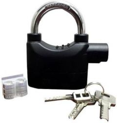 Boxerdoll Alarm Padlock Metal Lock Anti Theft System with Burglar Smart Alarm Siren Motion Sensor Secure for Home Door Office Shutter Safety Lock (Black) | (Pack of 1)