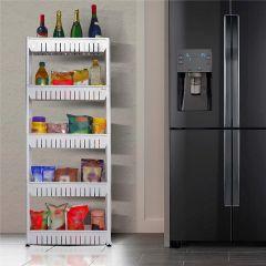 Multipurpose 5 Shelves Slim Kitchen Organizer Storage Rack with Wheels for Home, Bedroom and Bathroom