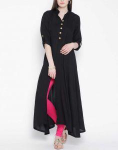 Women Solid Cotton Rayon Blend Front slit Kurta(Black)