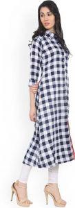Women Checkered Pure Cotton Straight Kurta (Black/White)