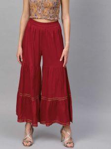 Flared Women Rayon Trousers (Maroon)