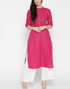 Women Solid Cotton Blend Straight Kurta(Pink)
