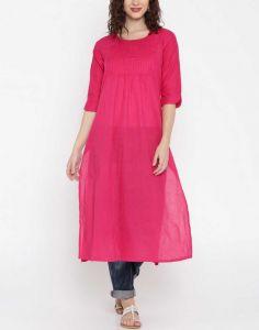 Women Solid Cotton Blend A-line Kurta(Pink)