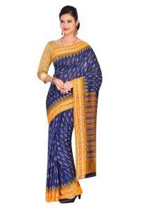 Bodybandha Handloom Womens Maniabandhi Sambalpuri Ikat Cotton Saree -  Blue/ Yellow