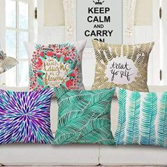 Tanishkam Décor Jute Digital Printing Ultimate Home Décor Cushion Covers Set of 5 (16x16)(Multicolor)