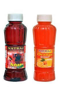 Natraj The Right Choice Anar Sharbat & Orange Sharbat Syrup (Pack of 2 x 750 ml Bottle)