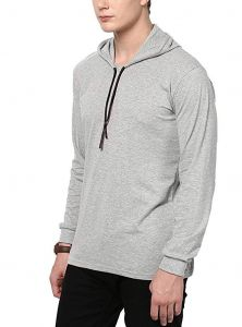 Fashion Gallery Men's Cotton Hooded T-shirt|Full Sleeve T-shirts for Men | V-Hood T-shirt, Large