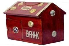 Wooden Money Bank for Kids Uniuqe product i.e wooden money bank of brown colour