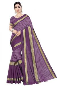 JANKISILKMILL Women's Banarsi Cotton Silk Saree With Blouse Piece - Purple