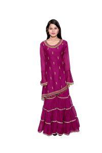 BCZ Style Women Chiffon Purple Kurti With Sharara