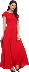 JANKISILKMILL Women's Crepe Semi-Stitched Gown - Red