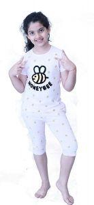 Babydoll - Self Printed Girls Kids Night Suit Super Soft Nightwear Cotton Hosiery Top and Payjama Set | Night Suit Capri Set for Girls Age 4 to 14 Years