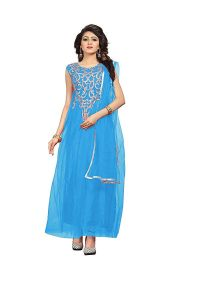 BRAND JUNCTION Women's Blue Net Embroidery Designer Semi-stitched Gown - Firozi