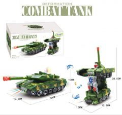 WON Deformation Combat Electronic Robot Car Tank Deformation Robot Toy with Light, Music and Bump Function (Tank Robot) Toys for Boys/Toddlers/Kids