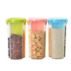 Khodiyar Fashion Storage Jar with 3 Section (Set of 3-1500 ml Each)   Plastic Air tight Dispenser Container Box (Transparent)   (Colour May Vary)