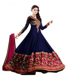 BRAND JUNCTION Women's Net Semi-stitched Gown Full Sleeves - Blue/Red