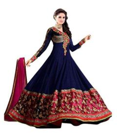 JANKISILKMILL Women's Net Semi-Stitched Gown Full Sleeves - Blue/Red