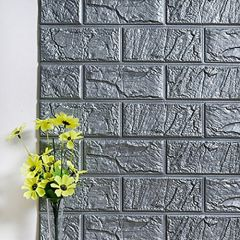 PE Foam 3D Wall Stickers Decorative Kitchen Bedroom Decor Wallpaper Children Living Room Decorative Brick Stickers (Gray, 70x30)