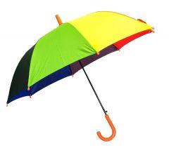 Real Star Rainbow Umbrella for Sun UV Protection and Rainy Season for Men, Women and Kids (Orange Handle)