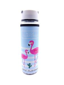 Happy Flamingo Glass Bottle for Storing Beverages, Milk, Water and Juice with Cover for Men and Women, 500 ml