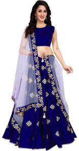 BRAND JUNCTION Women's Silk Semi-Stitched Light Weight Lehenga Choli - Blue