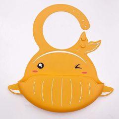 Waterproof Silicone Bib for Feeding Infants and Toddlers (6M to 5 Yr) - Unisex Set of 2 Silicone Bibs (1 BIB SEA Orange)