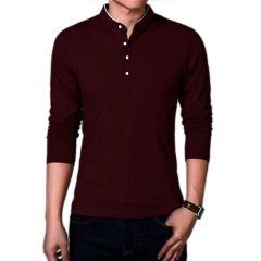 Fashion Gallery Men's Full Sleeves Cotton T-shirt|Mandarin Collar T-shirts for Men|Regular Fit Cotton T-shirt for Men-Maroon-XL