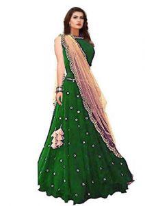 JANKISILKMILL Women's Georgette Semi-Stitched Lehenga Choli - Green