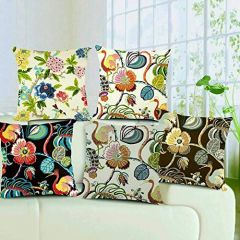 Tanishkam Décor Jute Digital Printing Ultimate Home Décor Cushion Covers Set of 5 (16x16) ( Multi-Color)