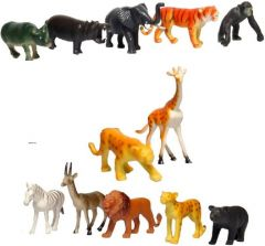 WON World of Needs Non Toxic Rubber Made Wild Animals (Pack of 12)