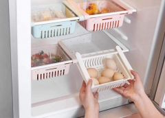 Nilkanth Fashion Adjustable Fridge Storage Basket Expandable Fridge Storage Rack Plastic Fridge Space Saver Food Organizer Tray (1 Piece) (Multi)