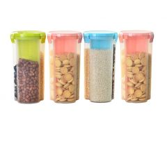 Khodiyar Fashion Storage Jar with 3 Section (Set of 4-1500 ml Each) | Plastic AIRtight Dispenser Container Box (Transparent) | (Colour May Vary)