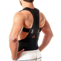Nilkanth Fashion Unisex Magnetic Back Brace Posture Corrector Therapy Shoulder Belt for Lower and Upper Back Pain Relief Posture Corrector for Men- Free Size (Black)