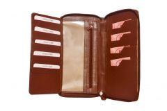 Kashan's Women's Wallet Zipper with Handle Women's Clutches & Wallet (Brown)