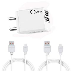 Ovista CDDH-001 Universal Travel Adapter Dual USB Plug Ports | USB Wall Charger with 3.1Amp Fast Charging and 2.1Amp Fast Charging Cable 1 Meter Included 2 Micro Type Cable (White)
