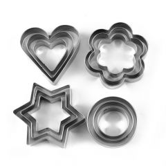 Nilkanth Fashion 12 Pieces Cookie Cutter Set   4 Different Shapes   3 Sizes   Stainless Steel (Silver)