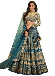 JANKISILKMILL Women's Silk Semi-Stitched Heavy Lehenga Choli - Blue